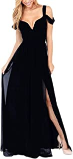 Women's Sexy V-Neck Side Split Strapless Maxi Dress
