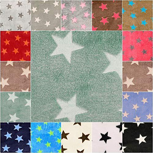 DIE NÄHZWERGE Superflausch Sterne, in 15 Farbkombinationen - Meterware ab 50cm | Wellness-Fleece Softplüsch Microfleece – Stars, Weihnachten, Ganzjahres-Stoff (Fond: Mint, Sterne: lindgrün)
