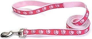 Guardian Gear Nylon Two-Tone Pawprint Dog Leash, 6-Feet x 1-Inch Lead, Pink
