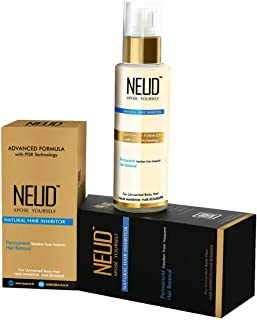 NEUD Natural Hair Inhibitor for Permanent Reduction of Unwanted Body & Facial Hair in Men & Women - Pack of 1