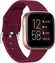 Aresh Bands Compatible with Fitbit Versa 2 Bands/Versa/Versa Lite/Versa SE,Soft Silicone Band Wristbands Strap Accessories for Women Men(Sangria,Small)