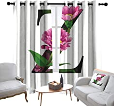 Room Darkening Wide Curtains Letter Z,Purple Zinnia Petals Stems Leaves and Letter Z Nature Inspired Alphabet,Fuchsia Green Black,Light Blocking Drapes with Liner 100