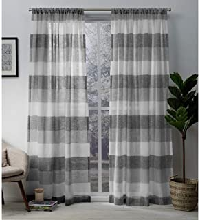 Exclusive Home Curtains Bern Stripe Sheer Window Curtain Panel Pair with Rod Pocket, 50x96, Ash Grey, 2 Piece