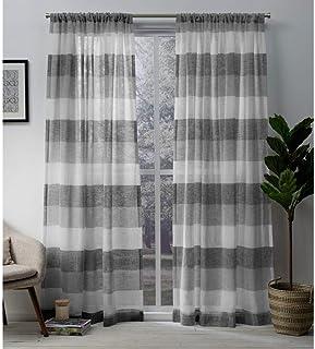 Exclusive Home Curtains Bern Sheer Rod Pocket Top Panel Pair, Ash Grey, 54x108, 2 Piece
