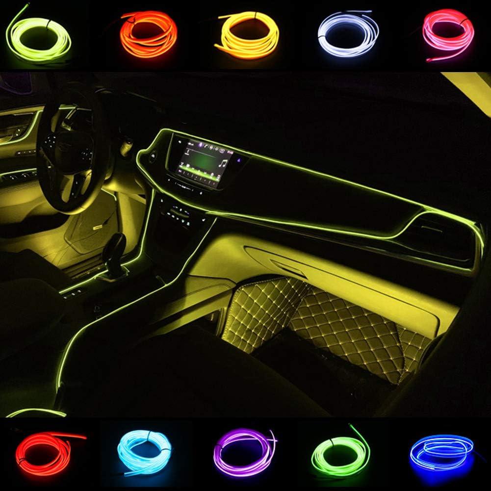 2M LED EL Wire Purple Cold light Car Interior Decor Lamp Neon Strip Tape 12V