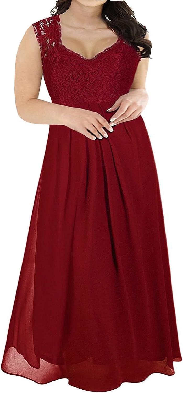 Nemidor Women's Deep- V Neck Sleeveless Vintage Plus Size Bridesmaid Formal Maxi Dress