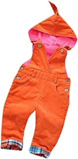 Toddler Cute Fleece Lined Corduroy Solid Hooded Warm One-Piece Jumpsuit Overall for Girls or Boys