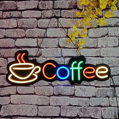 HNCS Insegna al Neon A LED per Affari LED Open Sign pubblicità con Scritta Logo Coffee per Insegna Vetrina Caffetteria Bar Caffetteria Ristorante