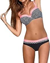 CUPSHE Damen Bikini Set One Shoulder Bandeau Bikinioberteil Wellenkante Strandmode Zweiteiliger Asymmetrischer Badeanzug