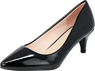 Cambridge Select Women's Classic Pointed Toe Low Kitten Heel Slip-On Pump