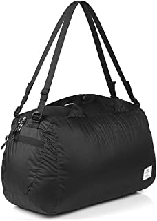 Triwonder 32L Packable Travel Duffle Bag, Waterproof Lightweight Foldable Luggage Duffel (Black)