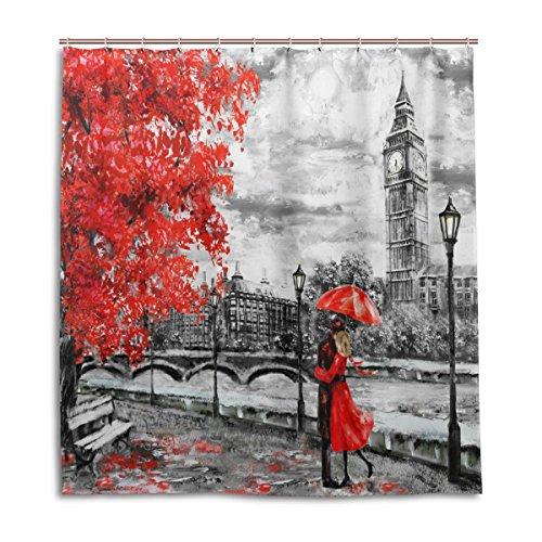 MyDaily Big Ben London Öl-Gemälde-Duschvorhang 167,6 x 182,9 cm, schimmelresistent und wasserdicht Polyester Dekoration Badezimmer Vorhang