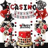 Casino Birthday Party Decorations Supplies Kit, Poker Themed Birthday Party Set Poker Happy Birthday Banner Casino Garland Cake Topper Casino Balloons for Las Vegas Themed Casino Party Decorations