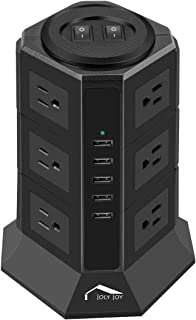 Tower Power Strip Surge Protector, JolyJoy Desktop Charging Station with 12 Outlets and 5 USB Fast Charing Ports and 2M Heavey Duty Power Extension Cord (UK Plug)