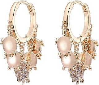 Orecchini a cerchio da donna, ipoallergenici, placcati in oro rosa e argento, con zirconi cubici brillanti, idea regalo pe...