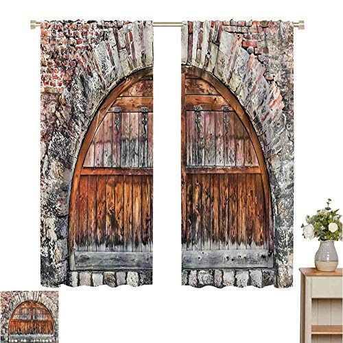 "Price comparison product image Waterproof Window Curtain Rustic Decor, Photograph of A Brick Stone Rampart with Oval Gate with Dated Ancient Materials Art Print, Grey Brown, Blackout Draperies for Bedroom Living Room 84"" W x 100"" L"
