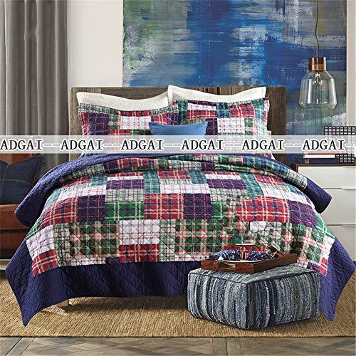 ADGAI 3 stuks Quilted Patchwork sprei King Size Blauw Groen geometrische Shabby Piazza 100% katoen met Coverlet kussenslopen omkeerbaar bed blanket Laken