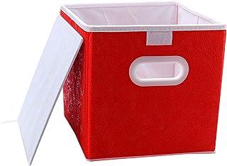 sourcing map Tissu Stockage Paniers Jouet Boîtes Couvercle Pliable Cubes Organisateurs Tiroirs Conteneurs avec Double Plas...