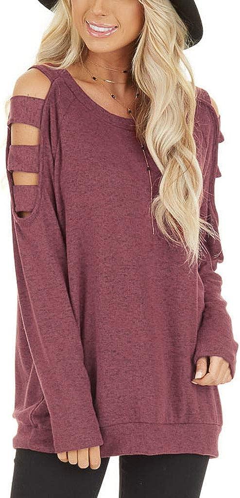 Cutout Shoulder Tunic Sweater Women Long Sleeve NRUTUP Plain Solid Sweatshirt T Shirts Sexy Pullover Cute Tops Blouse