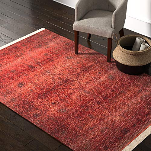 Amazon Brand – Rivet Mid-Century Modern Sunrise Rug, 5′ x 8′, Orange