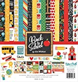 Echo Park Paper Company Back to School Collection Kit paper, 2-x-2, Blue/Black/Red/Green/Yellow