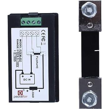 KETOTEK Shunter Amp/èrem/ètre Tension Testeur de puissance Compteur d/énergie Num/érique DC 6.5-100V 100A Voltm/ètre Volt Amp Multim/ètre LCD Testeur de tension Multimeter+50A//75mV shunt