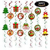 30 PCS Christmas Swirls Garland Foil Hanging Ceiling Decoration for Winter Wonderland Holiday Party Supplies with Christmas Deer & Santa Claus & Tree & Gift & bell