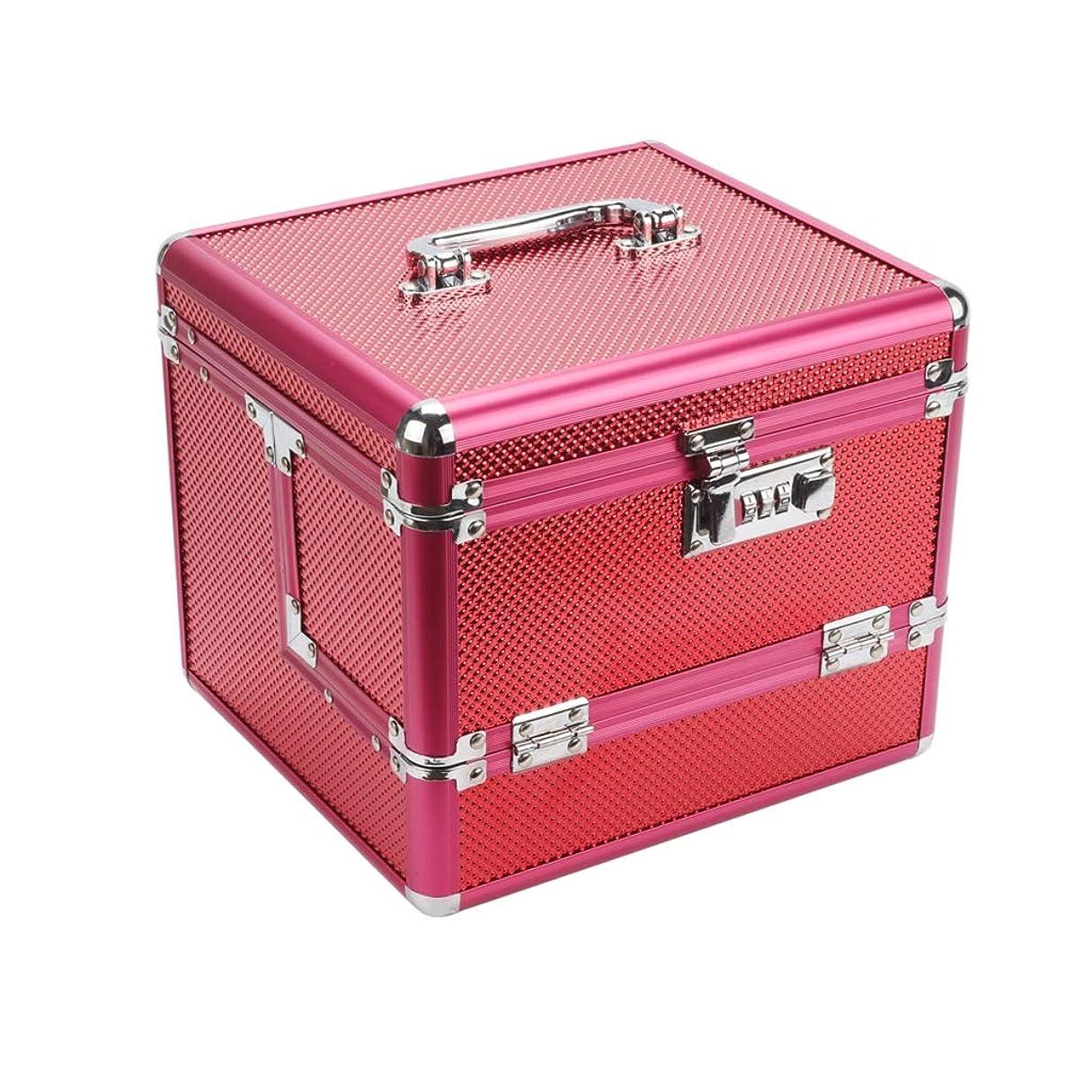 中世の豪華なマンハッタンメイクボックス コスメボックス 収納ボックス 鏡付き トイレ 鍵付き 24×20.5×20.5cm 取っ手付き 多層 仕切り 洗面用具入れ プロ用 収納力抜群 おしゃれ 小物整理 超軽量 出張用 旅行用 フック付き 化粧ケース