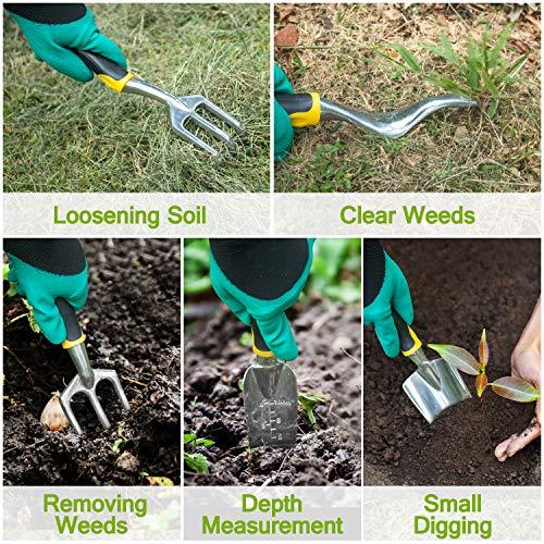 AUTUY Garden Tools for Gardening 31 Piece Aluminum Tool Kit with Storage Pocket Garden Tool Set Outdoor Hand Gardening Tools Gardening Gifts for Men Women