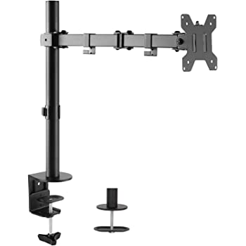 WALI Single LCD Monitor Fully Adjustable Desk Mount Stand Fits One Screen 13 to 32 inch, 17.6 Lbs. Weight Capacity per Arm (M001LM), Black