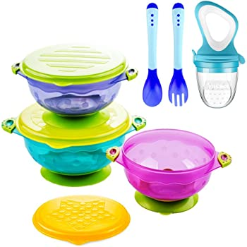 Suction Baby Bowls for Toddlers, Baby Feeding Bowls Set with Fresh Food Feeder and 2 Hot Safe Baby Spoon and Fork - Perfect Baby Shower Gift Set of 3 Stay Put Suction Bowls with Lids -BPA Free