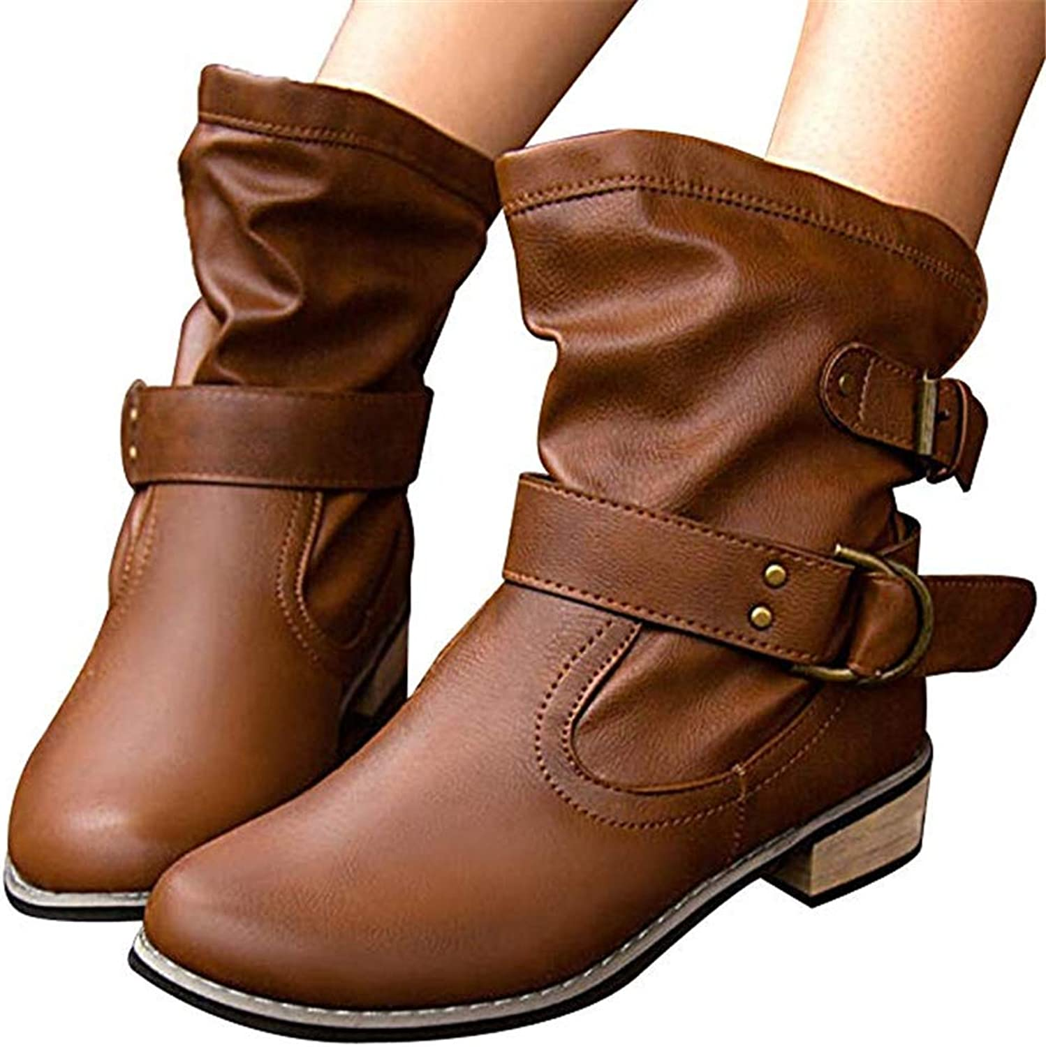 Women's Leather Strappy Wide Flat Heel Mid-Calf Round Toe Casual Short Boot