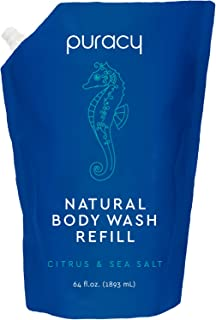 Puracy Natural Body Wash Refill, Citrus & Sea Salt, 64 Ounce, Unisex Shower Gel for Softer, Healthier Skin