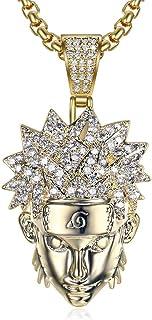 Gioielli Moca Ghiacciati Uzumaki Naruto Pendente Catena placcata Oro 18 carati Bling CZ Diamante simulato Collana Hip Hop ...