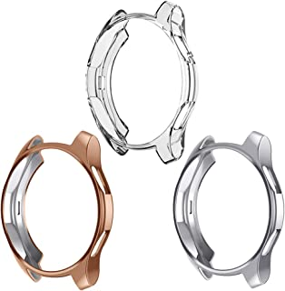 Case Compatible Samsung Galaxy Watch 46mm, NAHAI TPU Slim Plated Case Shock-Proof Cover All-Around Protective Bumper Shell for Galaxy Watch 46mm (3 Pack Clear, Silver, Rose Gold, (46mm) SM-R800)