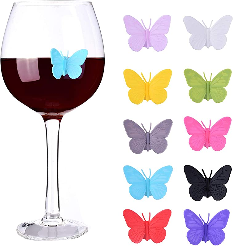 Wine Glass Markers Set Of 10 Silicone Drink Glass Charms Wine Charm Tags With Suction Cup Butterfly Assorted