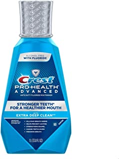 Crest Pro-Health Advanced Anticavity Fluoride Mouthwash/Rinse, Alcohol Free, 1 Liter (33.8 fl oz) - Pack of 2