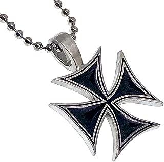 Black German Cross Biker Pewter Girls Boys Unisex Women Men Pendant Necklace Charm w Silver Ball Chain