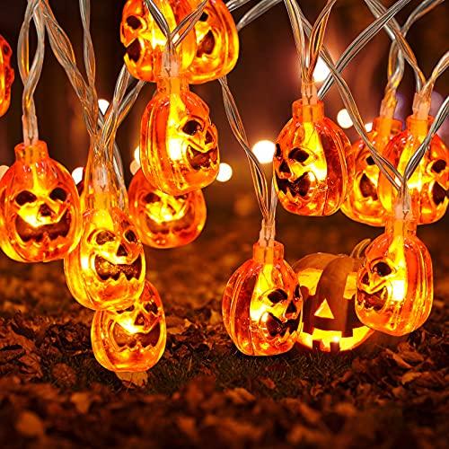 yumcute 20 LED Calabaza Cadena de Luces Halloween Guirnalda Luces de Calabaza a Batería 3D Naranja Lámpara de Jack-O-Lantern Niños para Halloween Navidad Interiores Fiesta Home Garden Decoración