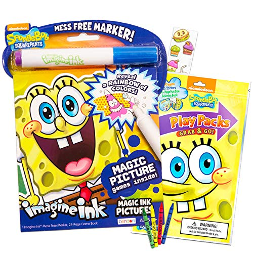 Spongebob Squarepants Coloring Book Set -- Spongebob Imagine Ink Book with Magic Pen, Play Pack with Fun-Size Activity Book, Crayons, Spongebob Stickers and Food Stickers (Party Pack)