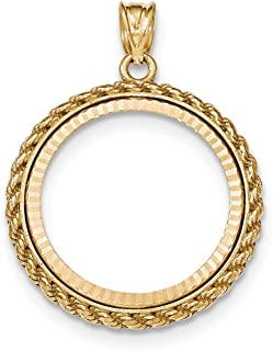 14k Yellow Gold Casted Rope Diamond Cut Prong 1/4oz American Eagle Bezel
