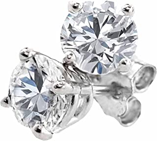 Dazzlingrock Collection 1.27 Carat (ctw) 14K Round Cut White Diamond Ladies Stud Earrings, White Gold