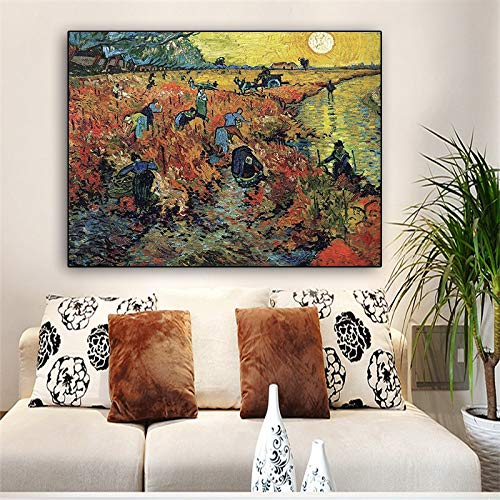 wZUN Réplicas de Las Famosas Pinturas al óleo de paisajes de Van Gogh de los viñedos Rojos sobre Lienzo y murales de Sala de Estar 60x90 Sin Marco