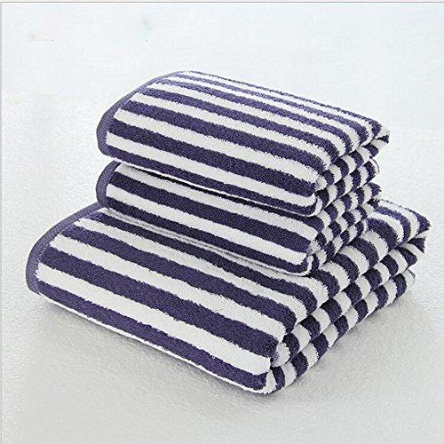 3-teiliges Handtuch-Set, Baumwolle, gestreift, super saugfähig, weich, geeignet für Liebhaber, Familienleben, Spa 600 g/m², 1 x Badetuch, 2 x Handtücher, (blau)