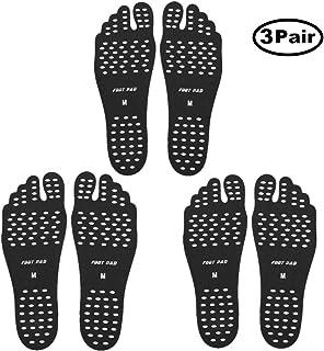 SEALEN 赤脚海滩脚垫,隐形鞋粘在鞋底,男士女士和儿童脚贴纸带防滑运动沙滩瑜伽 3 双装