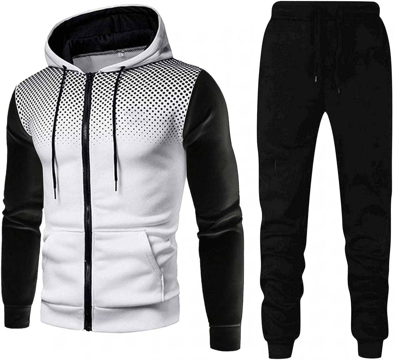 JSPOYOU Athletic Sports Tracksuit for Men Long Sleeve Polka Dot Hooded Sweatshirt and Joggers Pants Sportswear 2PCS