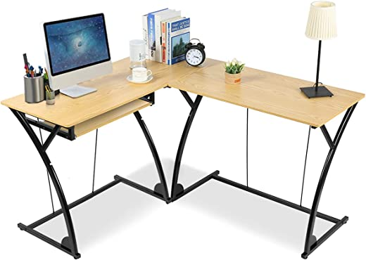 B07TQSMQBM✅Tangkula L-Shaped Desk, Corner Computer Desk, Home Office Desk, Study Table Workstation, Spacious PC Table with Built-in Keyboard Tray, Suit for Home Office and Study (Wood)
