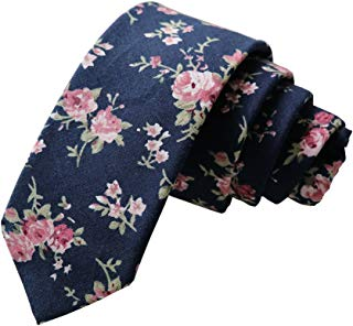 Floral Tie Men's Cotton Printed Flower Neck Tie Skinny Neckties (8502)