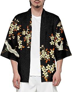 CIZEUR Hombre Hippie Camisa Kimono Japonés Estampado Holgado Manga 3/4