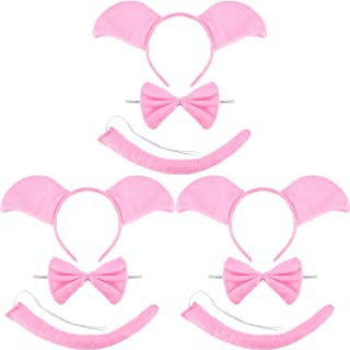 9 Pieces Pink Pig Costume Set Include Ears Headband Pig Bowtie and Pig Long Curled up Tail for Halloween Cosplay Costume or Party Decoration
